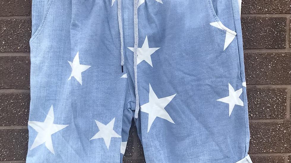 Light blue star jogger shorts