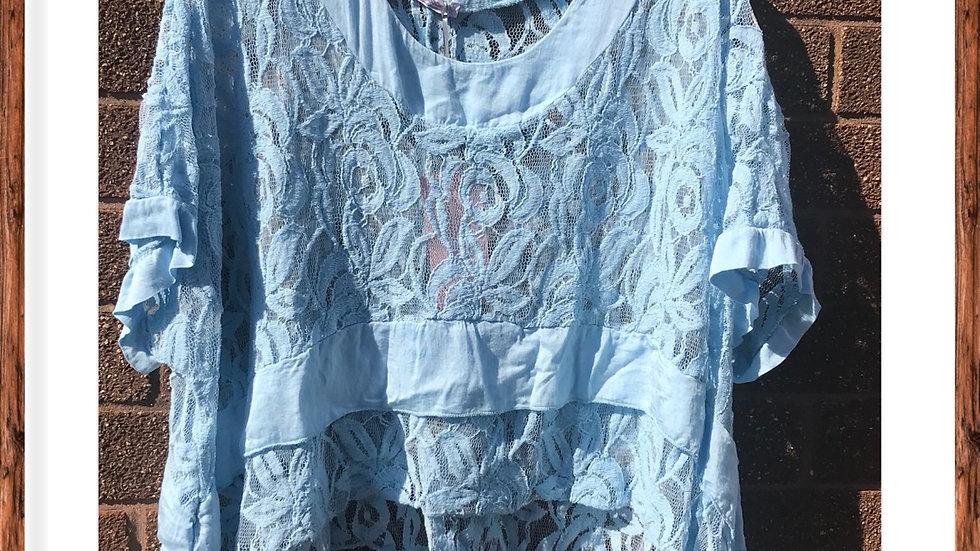 Blue lace top