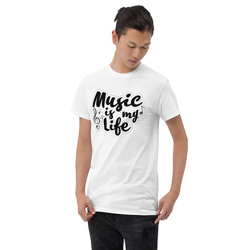 Music is my life Short Sleeve T-Shirt (White)