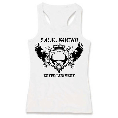 ICE SQUAD ENT Ladies White Tank (Website on the back)