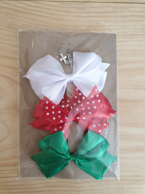 Green , red and white combo bows