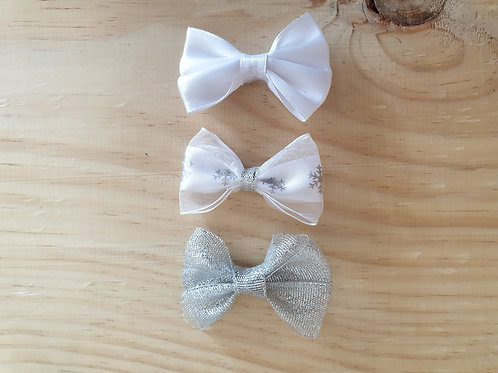 Silver snowflake combo bows