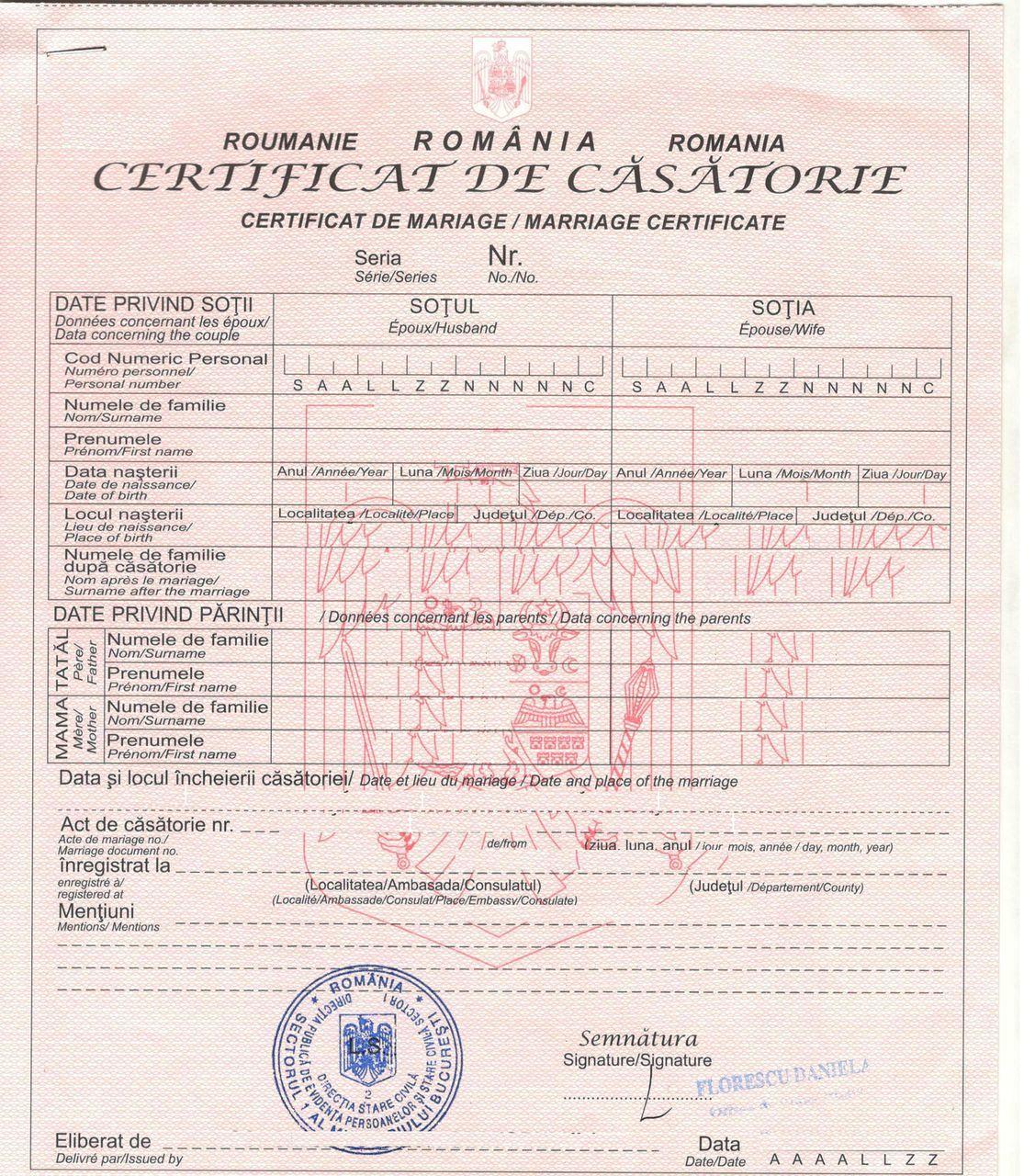 Certificate de casatorie