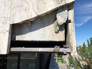 Damaged building exterior