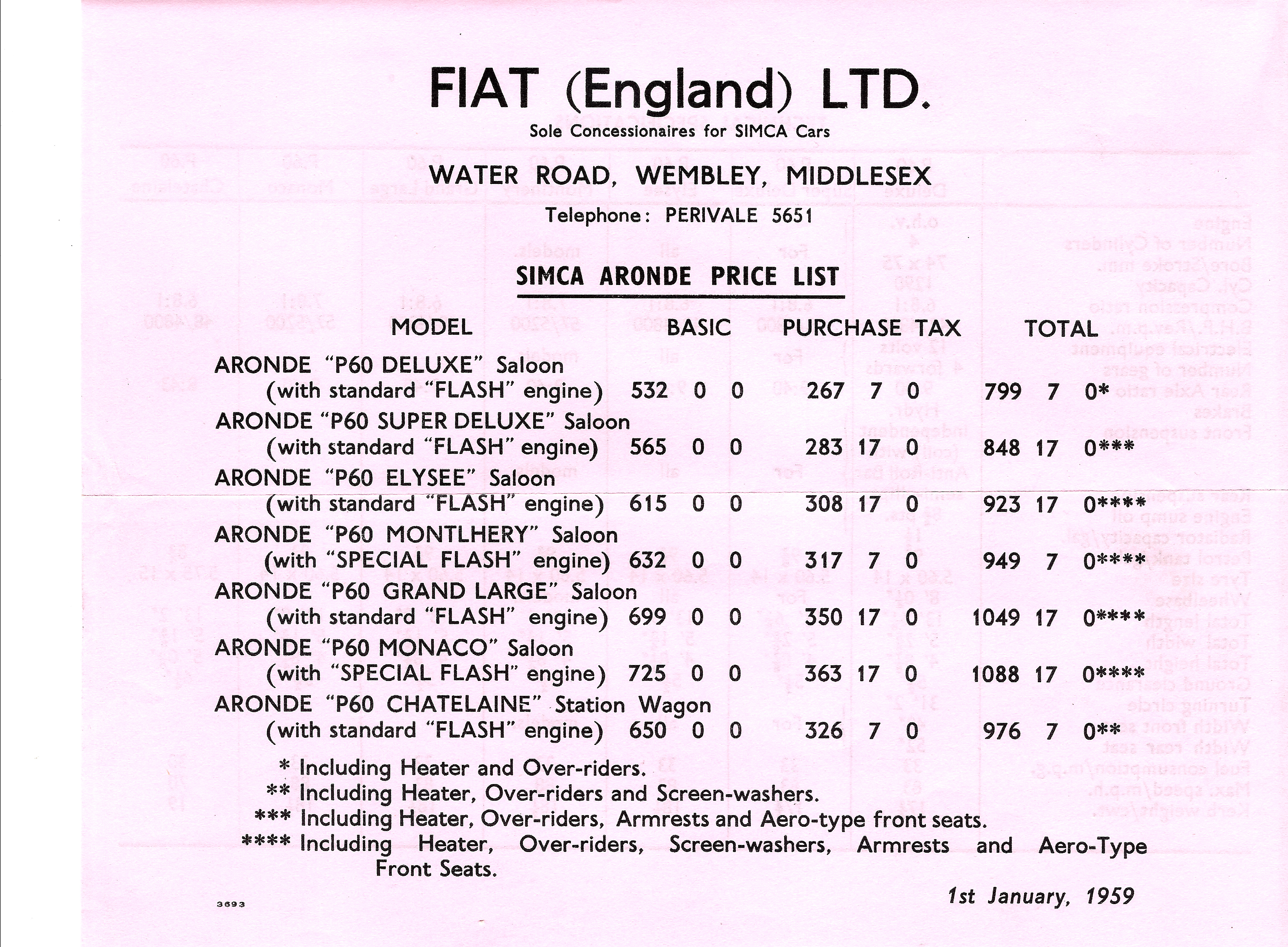 1959 Price List