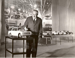 DG Henri Theodore Pigozzi with model of 1300 before launch in 1963