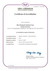 測試實驗室證書-國際認證