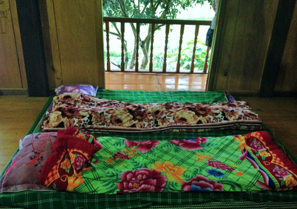 bedding at a homestay