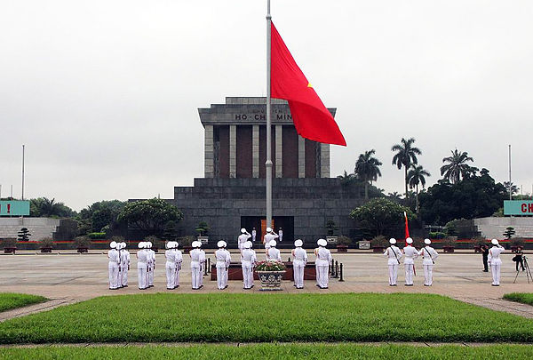 flag raising ceremony at Ho Chi Minh Mau