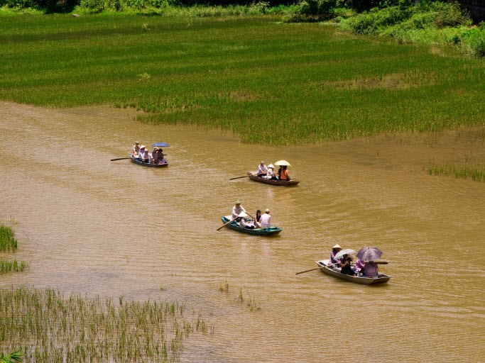 Boat ride on Ngo Dong River