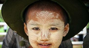 thanaka on Burmese kid face