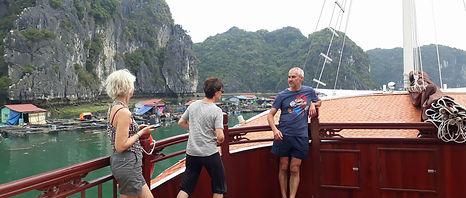Cruising by a fishing village