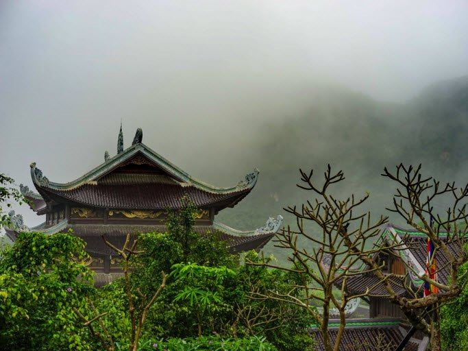Bai Dinh Pagoda in the mist