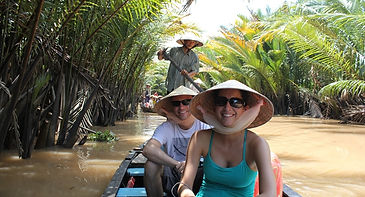 rowing boat in mekong