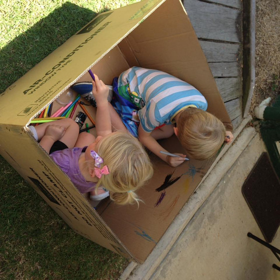 Kids always love a cardboard box
