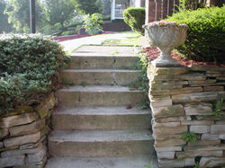 Steps and wall before