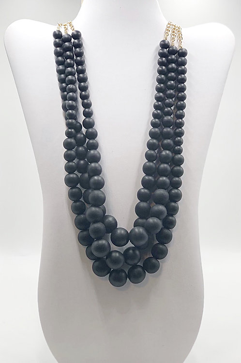 Black Wooden Beads