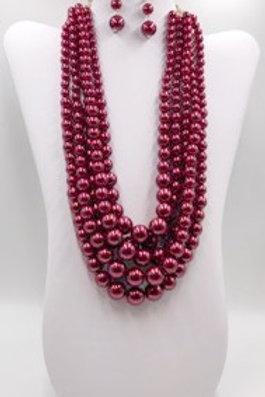 Wine Red Beads Set