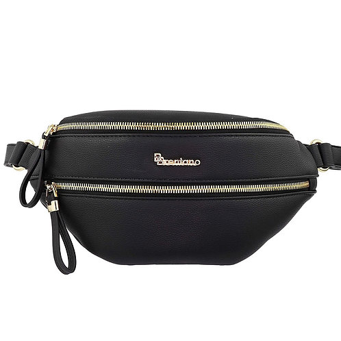 Black Leather  Women Fannypack