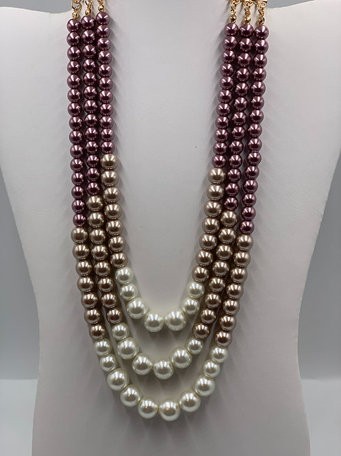 Three Strand Rose Gold/ Ivory Pearl