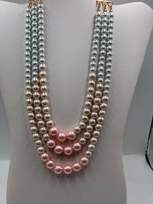Pink/Silver Three Strand Pearl