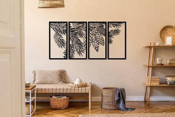 Palmiye Ağaç  Metal Tablo 4 Parça