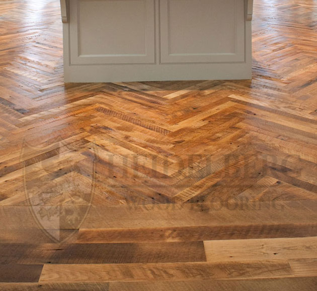 Reclaimed Oak hit-miss skip-sawn herringbone