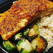 Grilled Salmon with crispy brussel sprouts