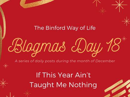 Blogmas Day 18 : If This Year Ain't Taught Me Nothing