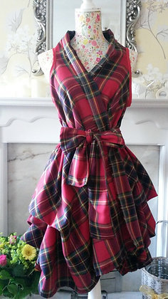 Raspberry tartan wrapped and ruched dress