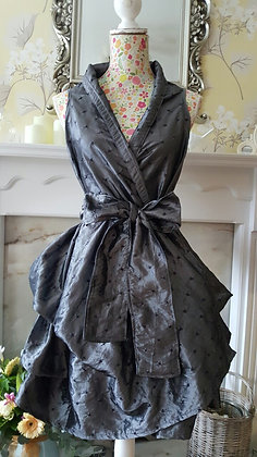 Handmade wrap trench dress made with metallic slate grey taffeta