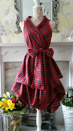 Handmade Royal Stewart tartan wrap and ruched dress