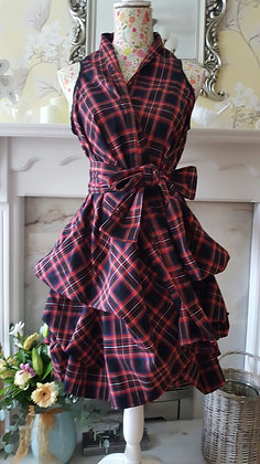 Handmade wrap trench dress made with black and red tartan fabric