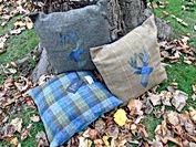 Handmade tweed cushions
