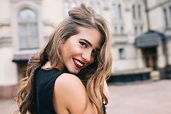 Closeup portrait of pretty girl with lon