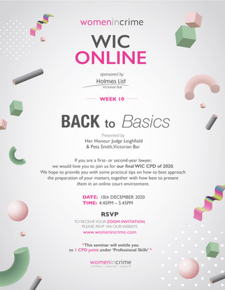 WIC Online - Back to Basics