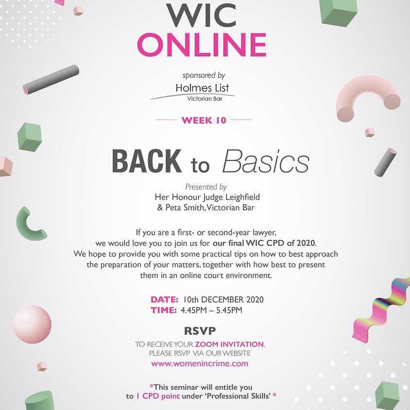 WIC Online - Back to Basics