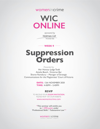 WIC - Suppression Orders
