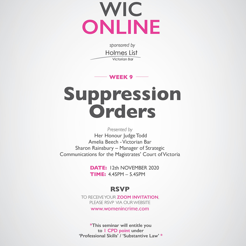 WIC Online - Suppression Orders