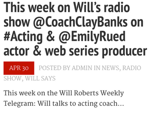 I'm Gonna be on the Air on Will Roberts Weekly Telegram Radio Show!!