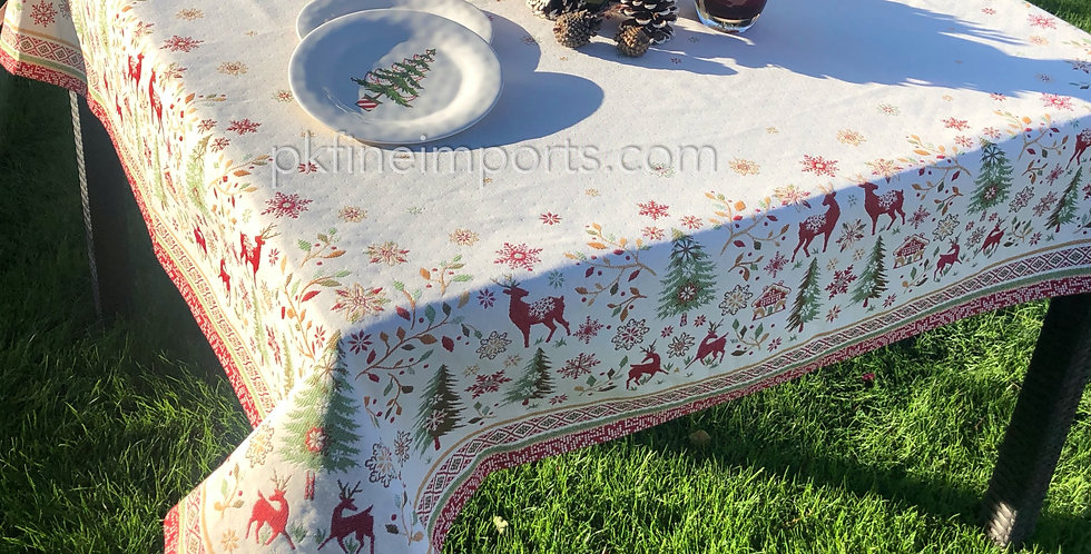 Red/Green Vallée Jacquard Tapestry Tablecloth