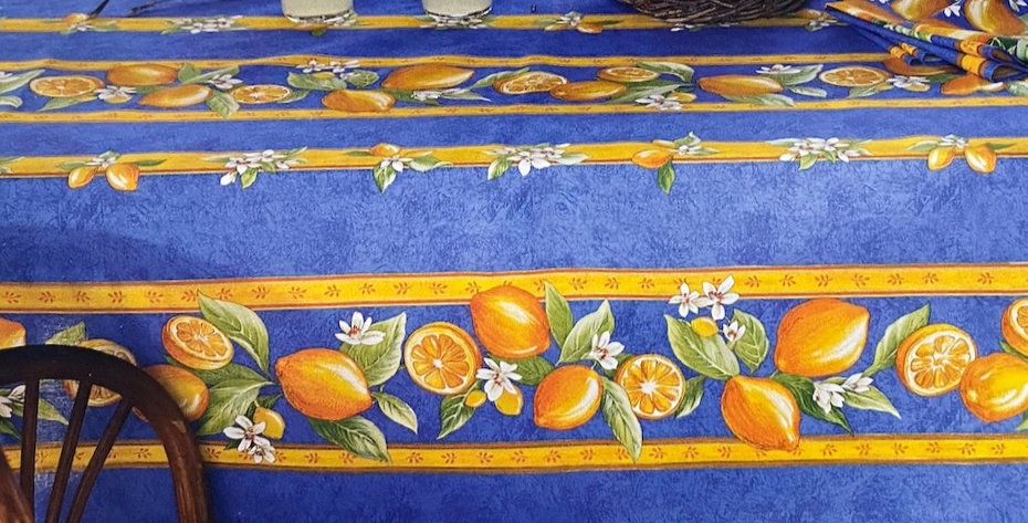 """French Tablecloth Coated 60"""" Round Striped Blue Citron"""