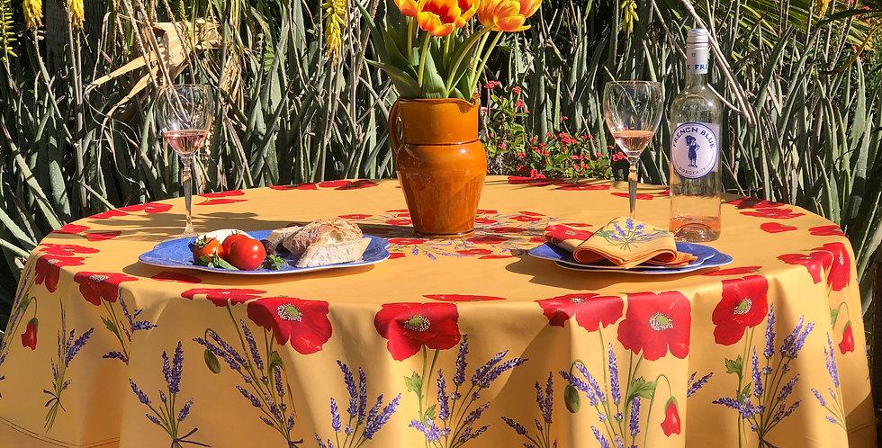 French Tablecloth/Napkin Set Round Coated Yellow Poppy