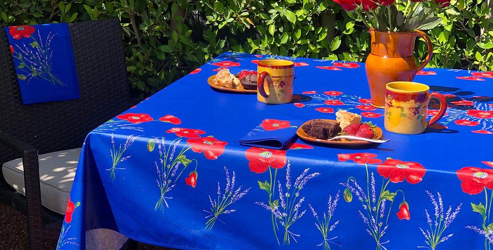 "French Tablecloth Coated Blue Poppy 60"" x 100"" & 8 Napkins Set"