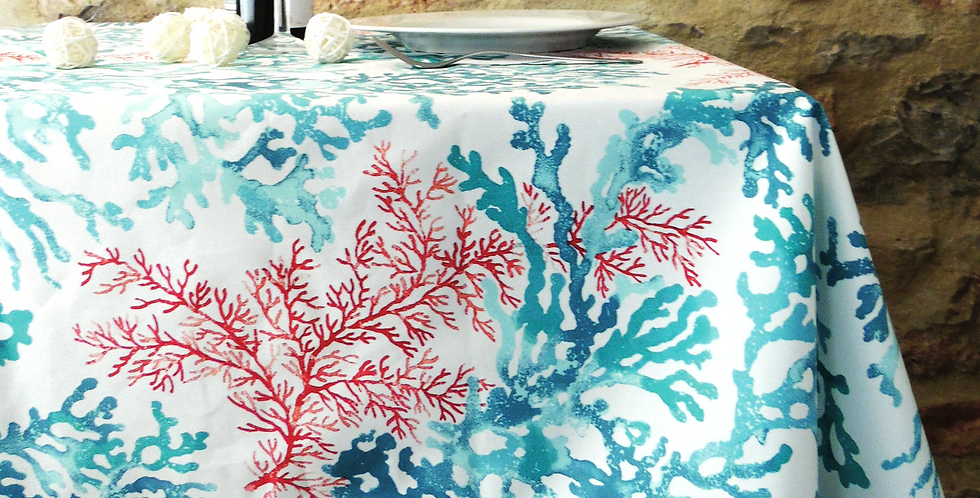 French Tablecloth Coated Turquoise Brisbane