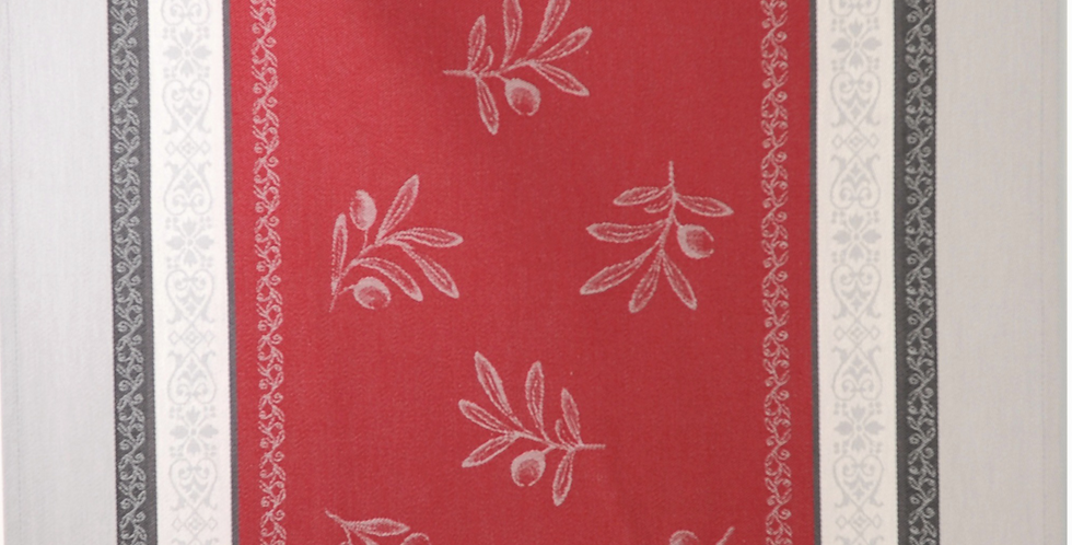 Red/Grey Olivia Jacquard Woven Kitchen Towel