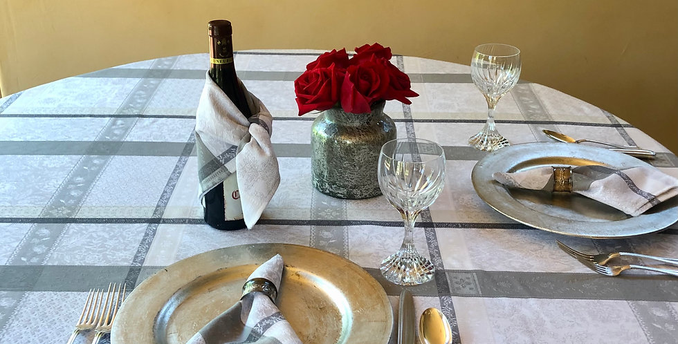 "French Tablecloth Jacquard 70"" Round Ecru/Grey Maussane"