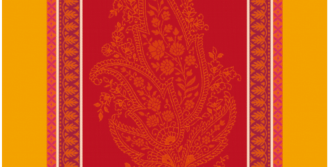 French Kitchen Towel Jacquard Red/Yellow Cassis