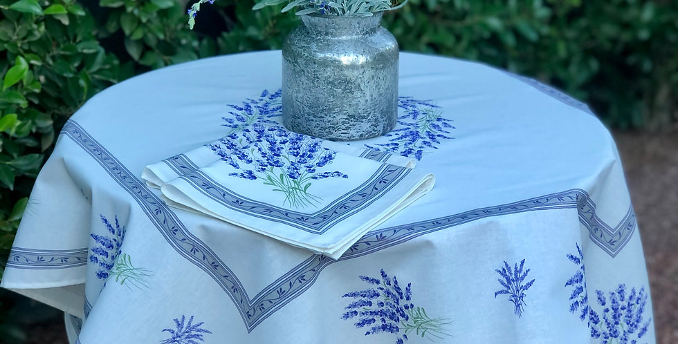 Ecru Valensole Printed Cotton Table Topper