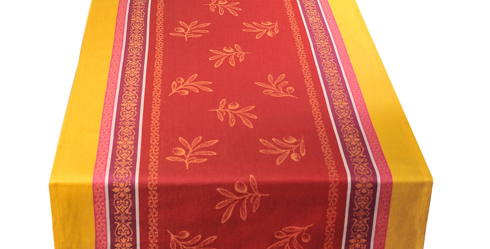French Table Runner Jacquard Red/Yellow Olivia